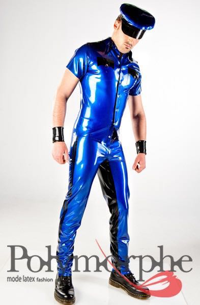 Clothing, Latex, Men, Shirts-Tops- Latex Miltary Short -8873