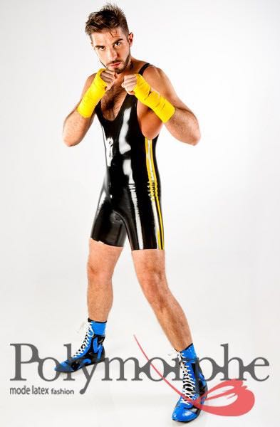 Catsuits, Clothing, Latex, Men- Wrestler Latex Suit With -1299