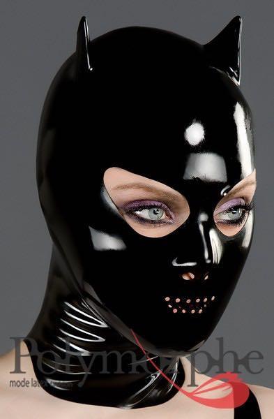 BDSM, Hoods- Latex Devil Mask With Perforated Mouth - Purple Passion