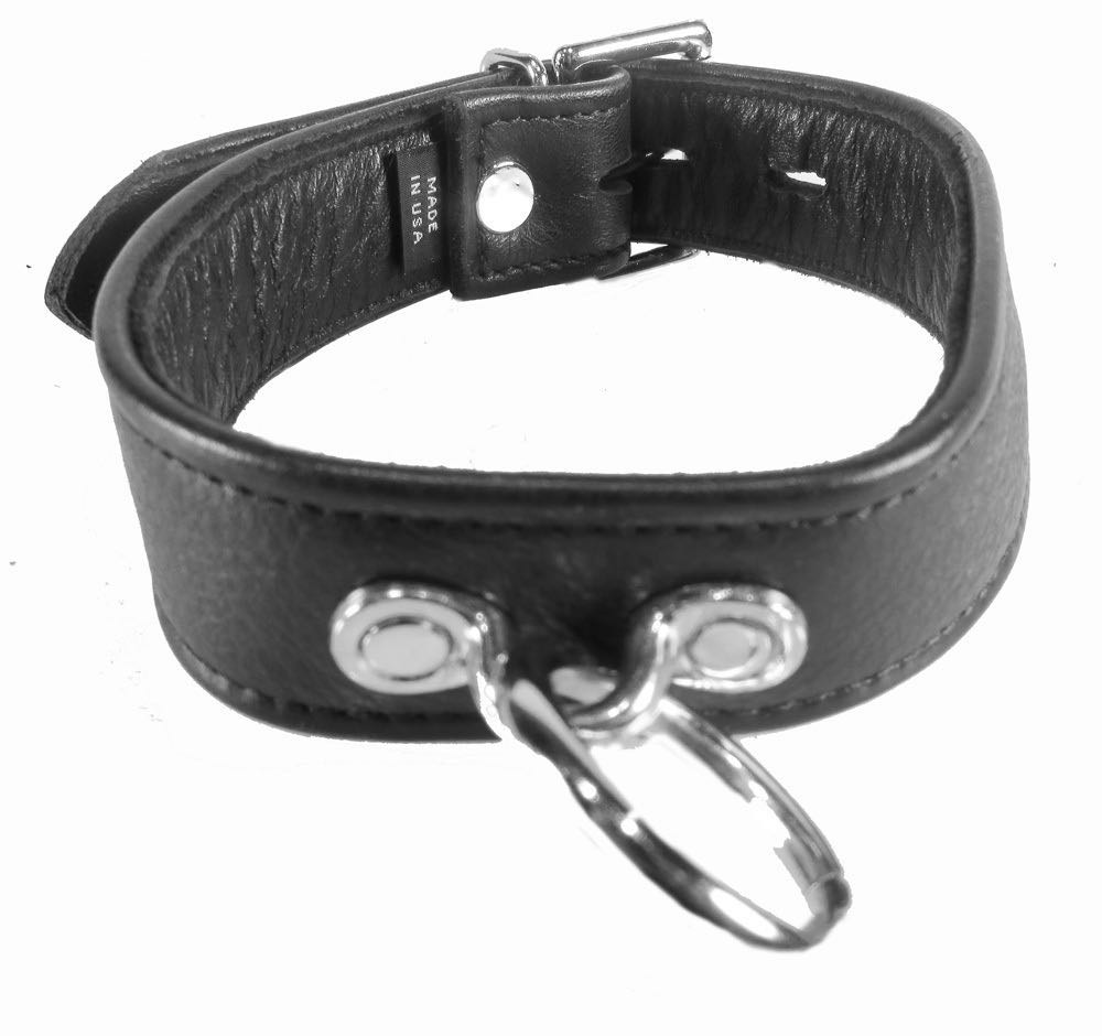 Bdsm, Collarsleashes- Black Leather Collar With O-Ring -3777