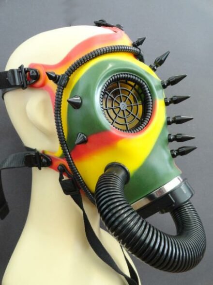 BDSM, Masks- Camo Cyber Gas Mask With Corrugated Tubes and